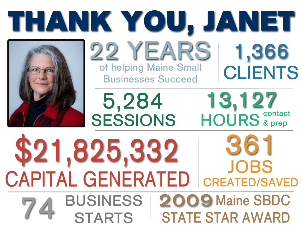 Janet Retirement Photo with Impact - Maine SBDC