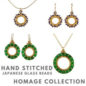 Homage Collection Jewelry, handstitched, Japanese glass beads