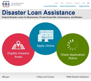 SBA disaster loan website