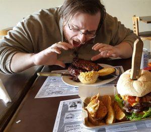 Timberwolves BBQ Customer Eating