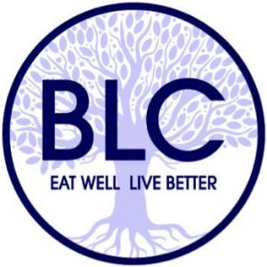 Better Living Center Logo - Purple tree with large canopy and roots overlaid with initials BLC and words Eat Well Live Better