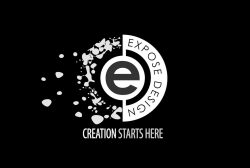 Expose Design Logo - globe like shape with and e in the center Expose Design around half and splattered design scattering on the other side, below are words Creation Starts Here